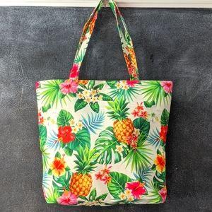 Tropical Hibiscus Pineapple Summer Beach Tote Bag